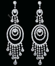 "4.5"" Bridal Wedding Pageant Crystal Chandelier Earrings"