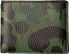 $275 Coach Mens Green Camo Billfold Bifold Leather 10 Cc Card Case Holder Wallet