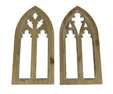 New ListingWhitewashed Wood Gothic Arch Window Frame Wall Decor 2 Piece Set