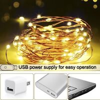 100LEDs USB Copper Wire String Lights Party Wedding Christmas Fairy Lights Lamp
