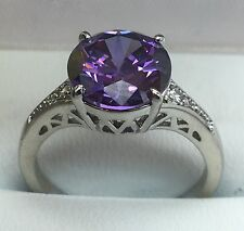 Purple C.Z Sliver Plated Ring. Size P (55 7/8)