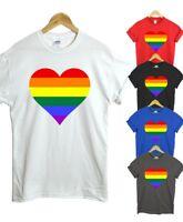 Gay Pride Rainbow Heart T Shirt - LGBT Freedom rainbow tee top Colour tee top