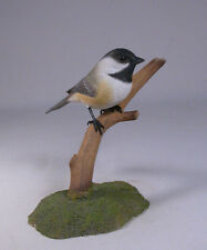 Black-capped Chickadee on branch Bird Wood Carving/Birdhug