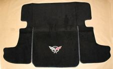 NEW! Black Deck Mat 1997-2004 Corvette With Embroidered Silver Flag Logo Coupe