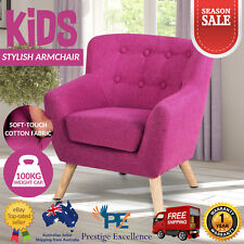 Kids Pink Armchair 10cm Padded Seat Cushion Fabric Sofa Couch Lounge Girls Chair