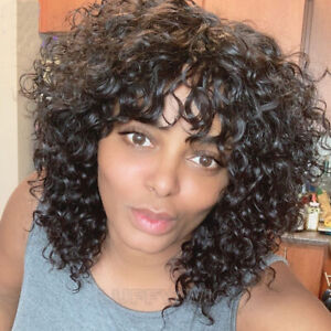 Jerry Curly Wig With Bangs Scalp Top Full Machine Made Human Hair Wigs For Women