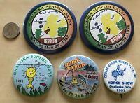 Lot of 5 Onalaska Wisconsin Souvenir Pinbacks Buttons Sunfish Days Horse Show