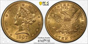 """1907-D Gold $10 Liberty Head PCGS """"Cleaned"""" Genuine AU Detail ☆ FREE SHIPPING"""