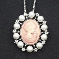Women's Crystal Lady Cameo Retro Pendant Betsey Johnson Necklace/Brooch Pin