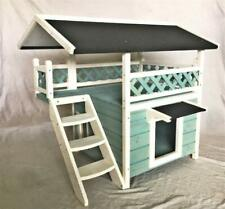 Seny 2-Story Outdoor Weatherproof Wooden Cat House Condo Shelter With Ladder