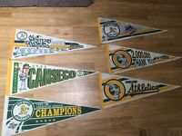 Lot Of Vintage 1988 Oakland A's Penants Jose Canseco 40/40 Club A.L Champions