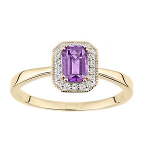 Jewelco London 9ct Yellow Gold Octagon Amethyst and Diamond Cluster Ring