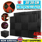 New 48 Acoustic Wall Panel Tiles Studio Sound Proofing Insulation Foam Pads UK
