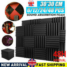 More details for new 48 acoustic wall panel tiles studio sound proofing insulation foam pads uk
