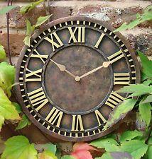 Garden Station Wall Clock  Hand Painted church clock 30cm Outdoor indoor 1088