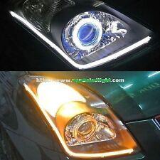 60CM Car Bike WHITE + AMBER FLEXIBLE AUDI TUBE LED DAYTIME LIGHT DRL UNIVERSAL