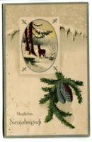 uralte AK Neujahrskarte, Reh im Wald und Tannenweig mit Zapfen 1917 //03