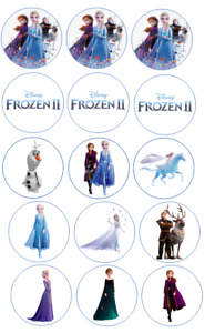 """15 x 2"""" Pre-cut icing Frozen 2 cupcake toppers,peel & easy to use"""