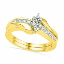 Bridal Set In 10K Gold 0.75 ct Marquise Diamond Bypass