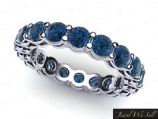 3.30Ct Round Blue Diamond Shared Prong Gallery Eternity Band Ring 10k Gold Si2
