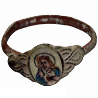 VERY RARE , CIRCA 1600-1700 AD BRONZE CHRISTIAN ENAMEL RING DEPICTING CHRIST