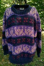 Handmade 100% Wool Sweater LARGE Ecuador Rey Wear Hand Knit South America