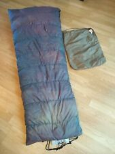"""Vintage Backpacking Down filled Brown Sleeping Bag 76"""" Long w Bag 60s early 70s"""