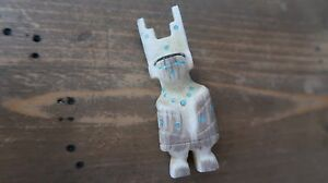 Small Vintage Carved Bovine Turquoise Inlay Mother of Pearl Southwestern Figure