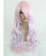 NEW Lolita Heat Resistant Long Curly Light Blue Mixed Pink Fashion Hair Wig