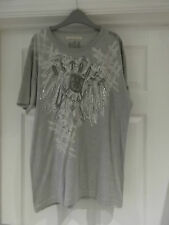 Outrage London T-Shirt in Men's Large - Grey Pictorial Print Short Sleeve
