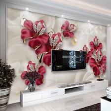 Mural Wallpaper 3D Wood Fiber Background Floral Pattern Wall Covering Home Decor