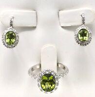 18k White Gold Natural Diamond & Peridot Drop Earrings & Ring Size 7 Jewelry Set