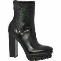 CALVIN KLEIN JEANS Women'sBlack Leather Felipa Ankle Boots Sz: uk4,5,6,rrp: £190