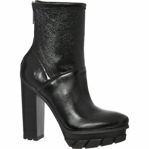 CALVIN KLEIN JEANS Women'sBlack Leather Felipa Ankle Boots Sz: uk4,5,6,rrp: £190