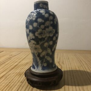 ANTIQUE CHINESE BLUE AND WHITE PRUNUS VASE & STAND 4 CHARACTER KANGXI MARK