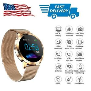 New Rose Gold Smart Watch w Stainless Steel Magnet Strap Tempered Glass Screen
