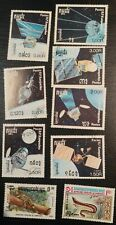 Lot of 9 stamps from Kampuchea now Cambodia, Space and Fauna