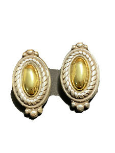 Brighton 2 Tone Brushed Gold Silver Oval Clip On Earrings  Roping Trim