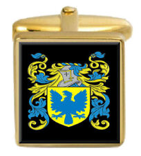 Whittall Inglaterra Familia Crest apellidos Escudo De Armas Gemelos De Oro Caja Grabado
