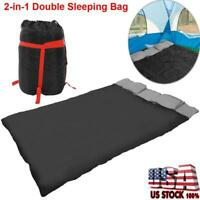 2-in-1 Double 2 Person Sleeping Bag Waterproof w/2 Pillows Camping Hiking Travel
