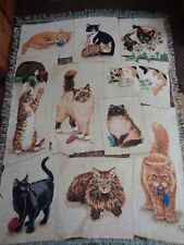 LINDA PICKEN.CURIOUS KITTIES.KITTY CATS.FELINES.WOVEN AFGHAN THROW.MADE IN 2005