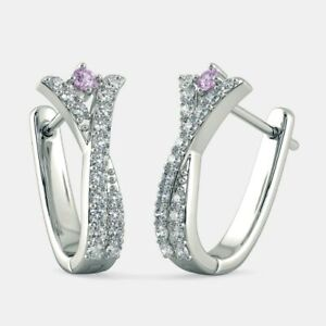 1.00CT NATURAL ROUND DIAMOND 14K SOLID WHITE GOLD AMETHYST CLIP ON HOOPS EARRING