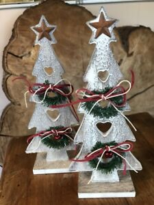 Two Small standing wooden Christmas tree decoration 23cm high