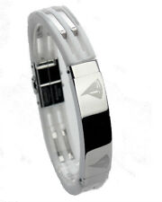 MEN'S SILICON RUBBER BRACELET WITH STAINLESS STEEL LINKS.