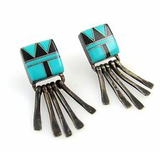 Old Pawn Navajo Sterling Silver Turquoise Black Jet Inlay Earrings Signed TT│RS