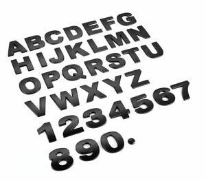 3D Quality Metal Chrome Self Adhesive Letters & Numbers Signs Badge - Matt BLACK