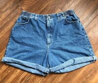 Vintage LEE High Elastic Waisted Rise Mom Denim Jean Shorts Long Light Wash 18