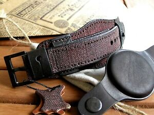 22mm Genuine leather watch strap bund band cuff bracelet with protective cup