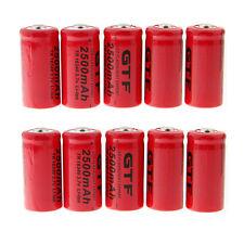 10pcs CR123A 2500mAh 16340 3.7V Rechargeable Li-Ion Battery for Flashlight Torch