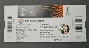 Football ticket UEFA EUROPA LEAGUE GNK Dinamo Zagreb vs West Ham United F.C.